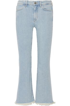 M.I.H JEANS Lou cropped frayed high-rise flared jeans