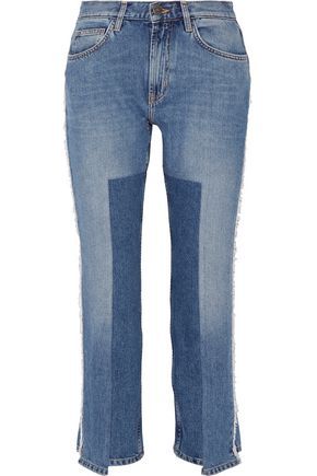 M.I.H JEANS Jeanne cropped paneled frayed straight-leg jeans