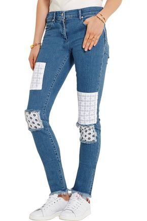 HOUSE OF HOLLAND Appliquéd mid-rise skinny jeans