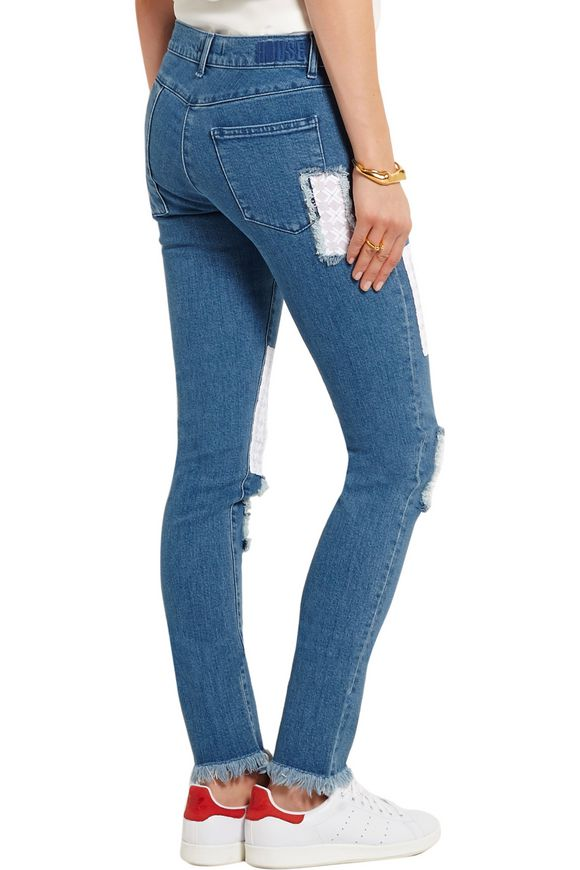 Appliquéd mid-rise skinny jeans   HOUSE OF HOLLAND   Sale up to 70% off    THE OUTNET