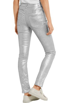 ISABEL MARANT ÉTOILE Ellos metallic coated high-rise skinny jeans