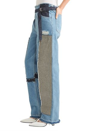 TOME Patchwork distressed high-rise wide-leg jeans