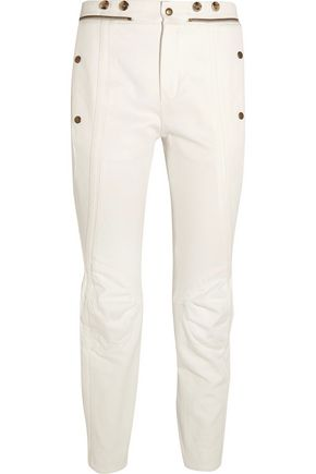 CHLOÉ Button-detailed high-rise slim-leg jeans