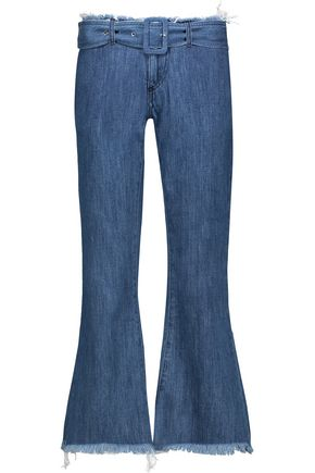 MARQUES ' ALMEIDA Mid-rise belted frayed flared jeans