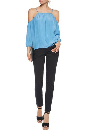 MAJE Mid-rise embroidered straight-leg jeans