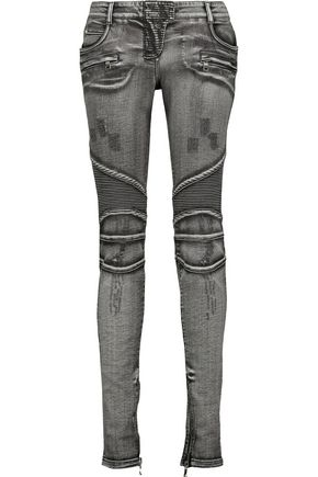 BALMAIN Biker low-rise distressed skinny jeans