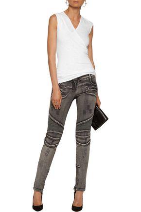BALMAIN Biker low-rise distressed skinny jeans