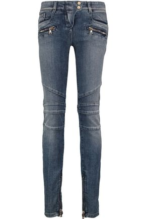 BALMAIN Faded mid-rise skinny jeans
