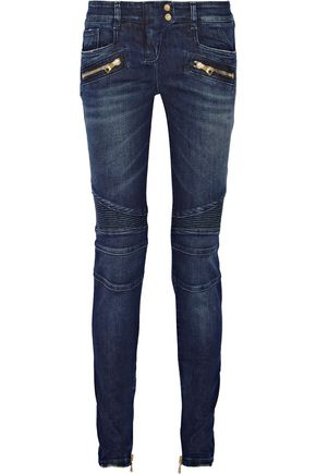 WOMAN MOTO-STYLE LOW-RISE SKINNY JEANS BLUE
