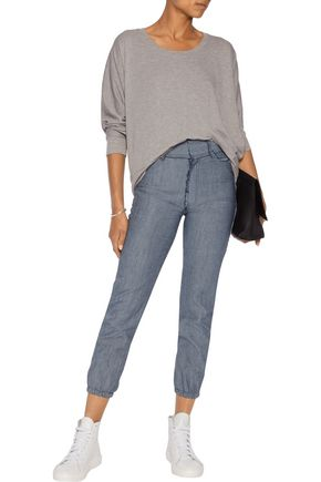 NORMA KAMALI Jog high-rise faded slim-leg jeans