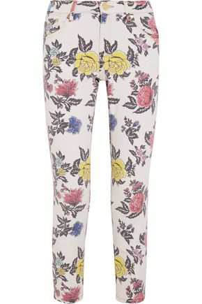 HOUSE OF HOLLAND Cropped mid-rise floral-print skinny jeans