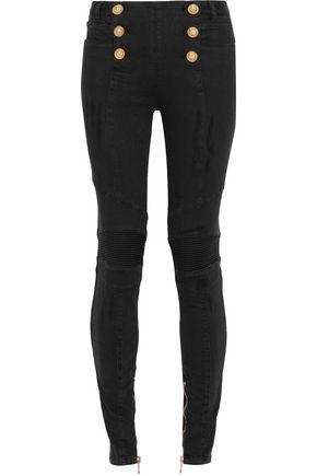 BALMAIN Mid-rise distressed skinny jeans