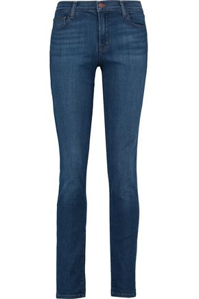 J BRAND Distressed cotton-blend mid-rise skinny jeans