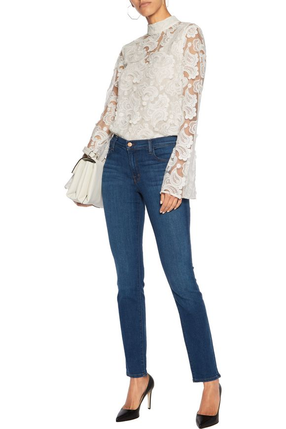 Distressed cotton-blend mid-rise skinny jeans | J BRAND | Sale up to 70% off  | THE OUTNET