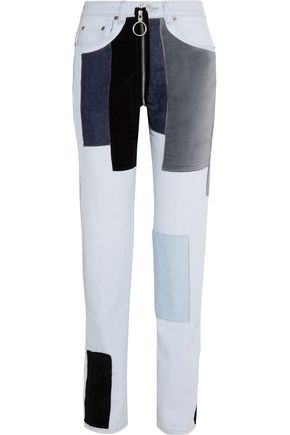 OFF-WHITE™ Patchwork velvet-paneled mid-rise straight-leg jeans