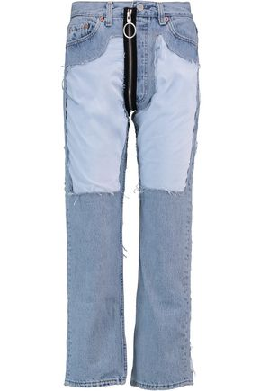 OFF-WHITE™ Welvet-paneled high-rise straight-leg jeans