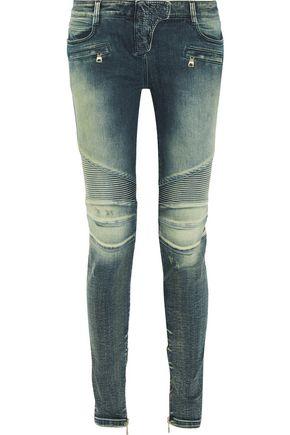 BALMAIN Moto-style low-rise skinny jeans
