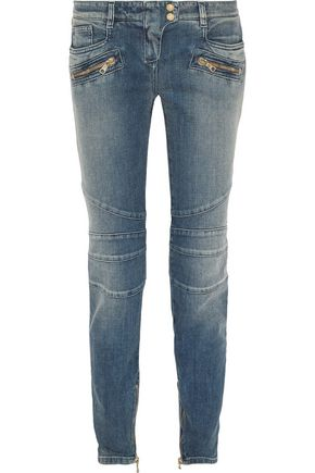 Moto Style Low Rise Skinny Jeans by Balmain