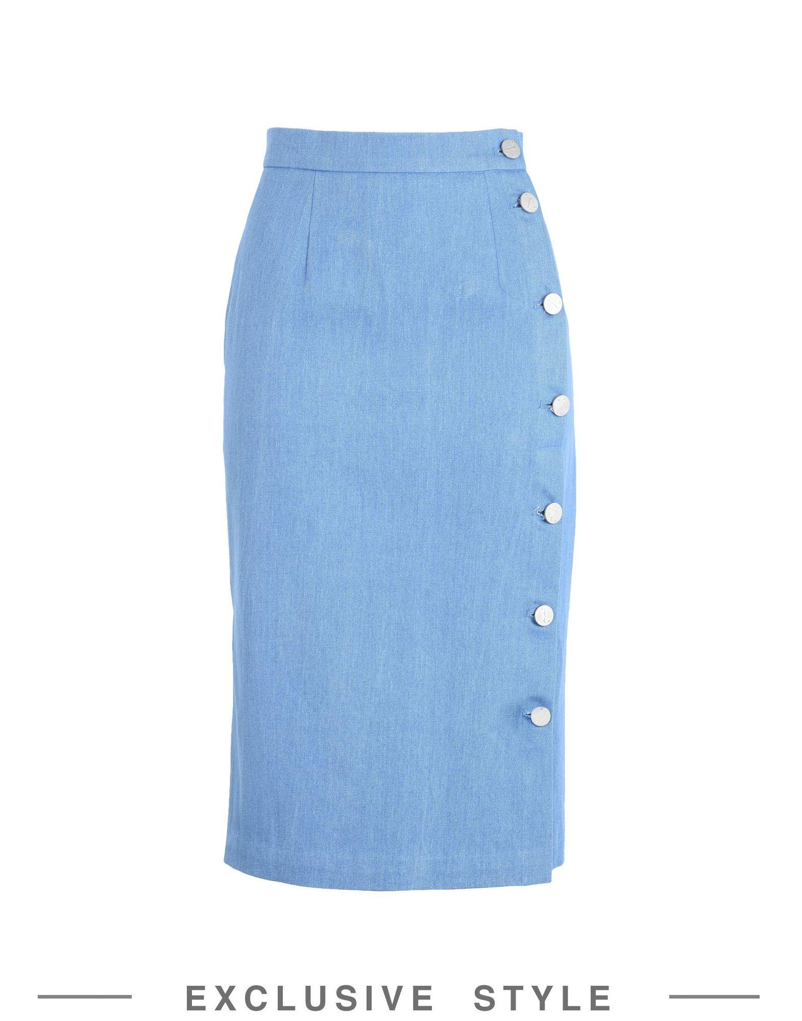 《送料無料》FLEAMADONNA x YOOX レディース デニムスカート ブルー S コットン 100%