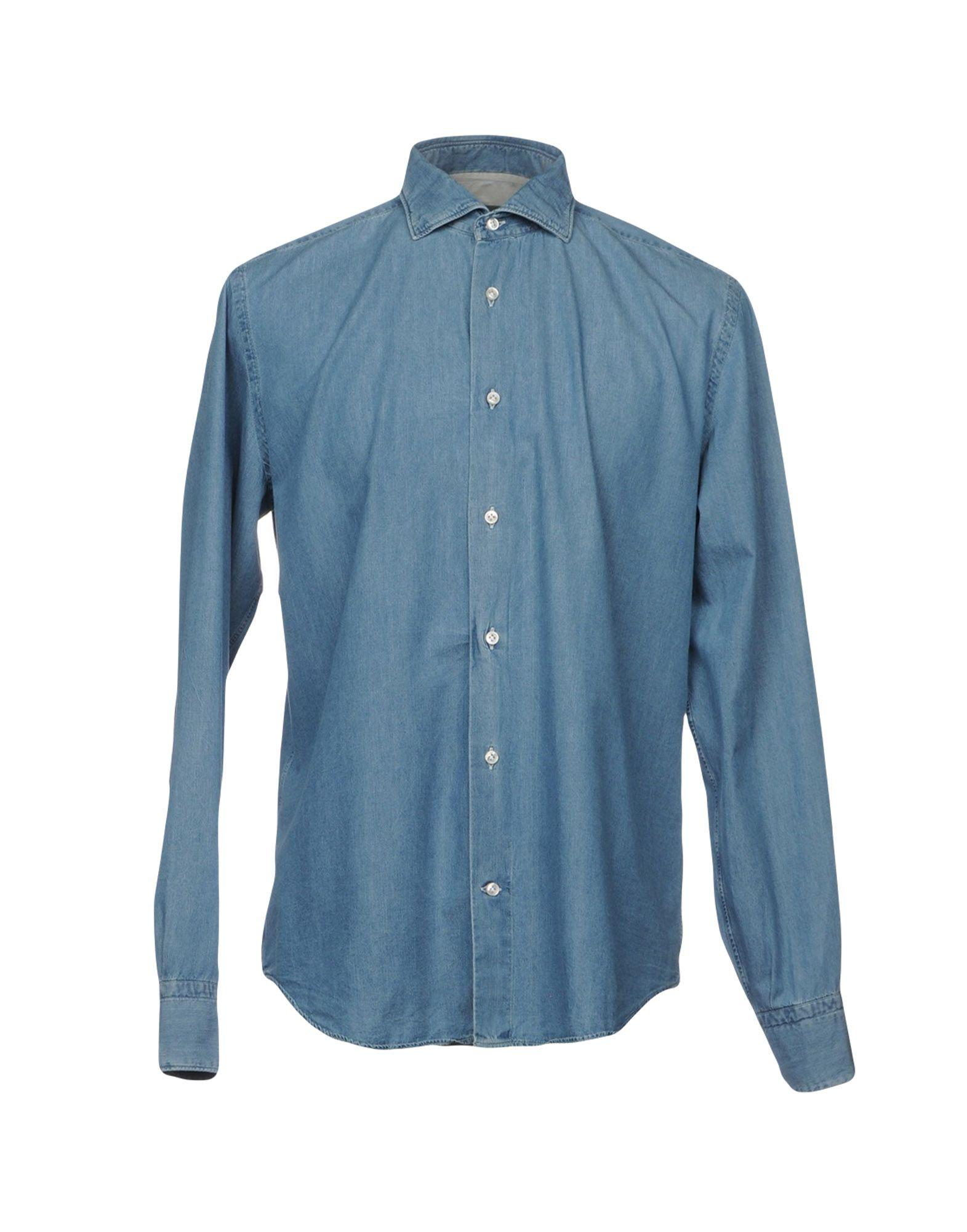 《送料無料》ELEVENTY メンズ デニムシャツ ブルー 44 100% コットン
