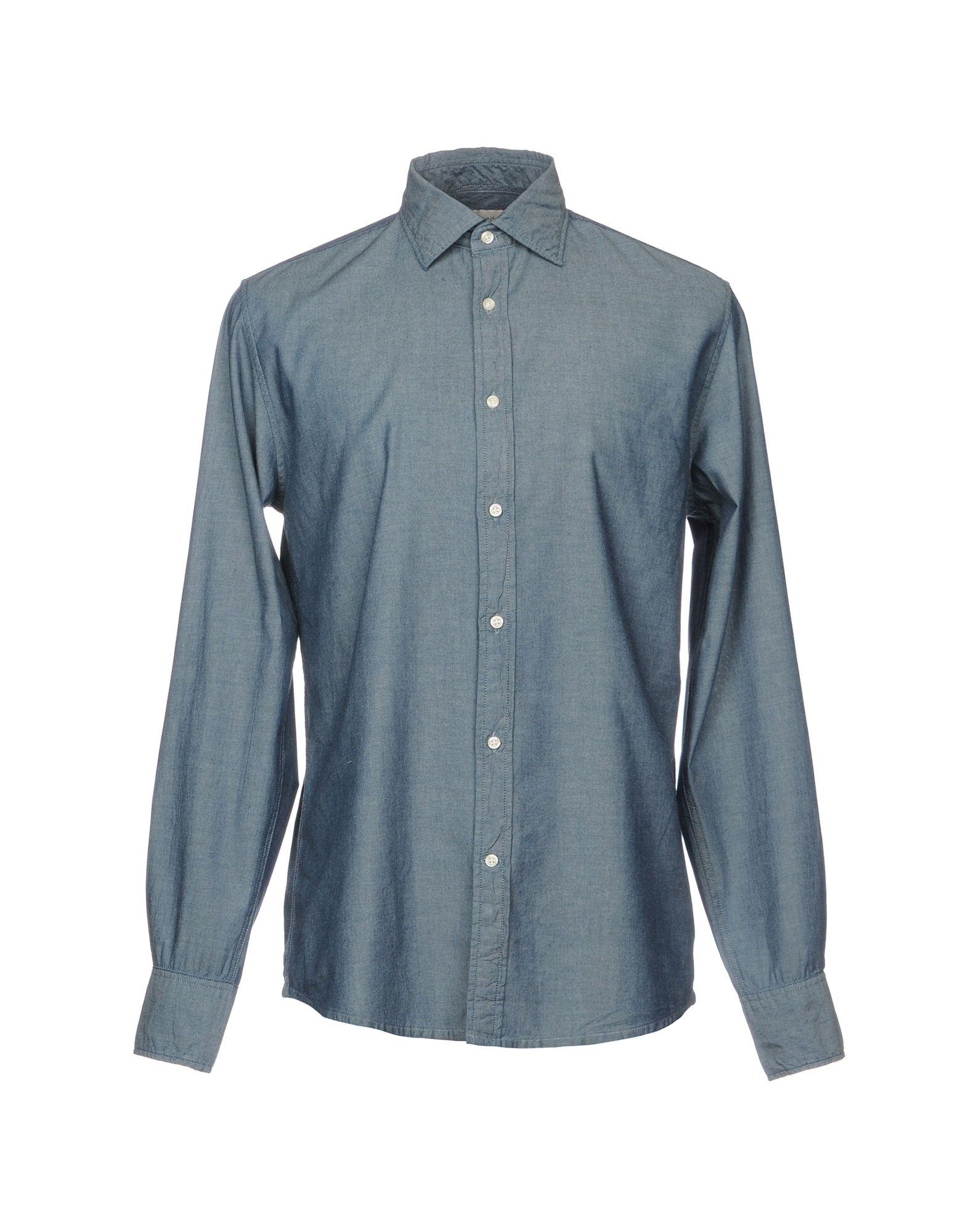 《送料無料》DEPERLU メンズ デニムシャツ ブルー M コットン 100%