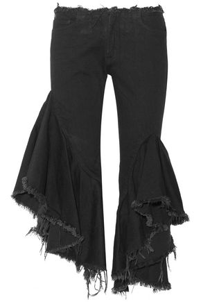 MARQUES ALMEIDA Ruffled frayed low-rise flared jeans