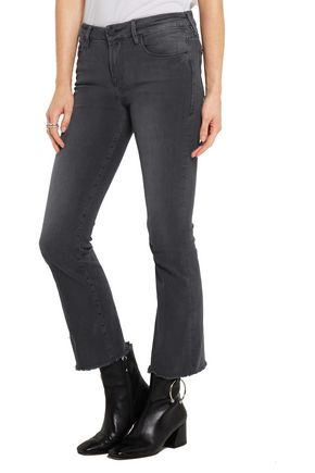 BY FRAME Le Crop Mini frayed mid-rise bootcut jeans