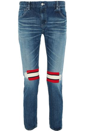 FACETASM Ribbed wool-trimmed mid-rise slim-leg jeans
