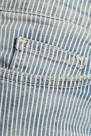 CURRENT/ELLIOTT The Fling striped mid-rise boyfriend jeans