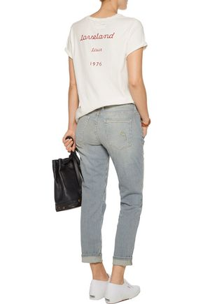 CURRENT/ELLIOTT The Fling striped mid-rise boyfriend jeans