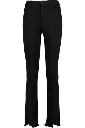 J BRAND Distressed twill high-rise skinny jeans