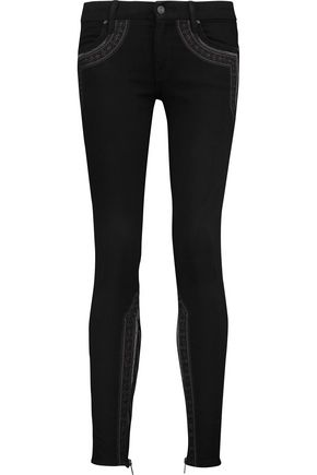 MOTHER The Looker embroidered mid-rise skinny jeans