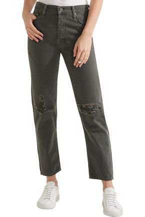 MOTHER The Cheeky distressed high-rise straight-leg jeans
