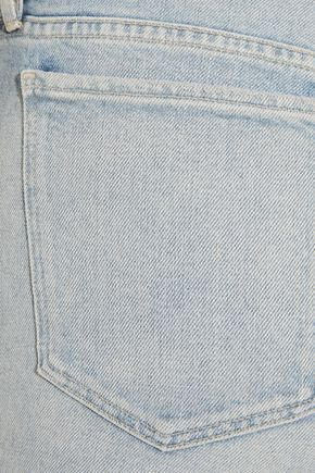 3x1 W3 cropped frayed high-rise straight-leg jeans