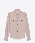 SAINT LAURENT Western Shirts D Western-style shirt with raw edges in pale pink denim f