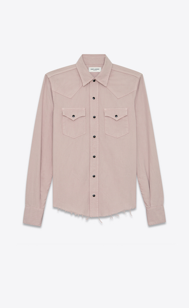SAINT LAURENT Western Shirts D Western-style shirt with raw edges in pale pink denim a_V4