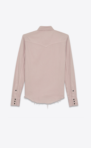 SAINT LAURENT Western Shirts Woman Western-style shirt with raw edges in pale pink denim b_V4