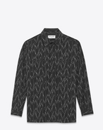 SAINT LAURENT Denim shirts D Black cotton tunic printed with a pixel jacquard f