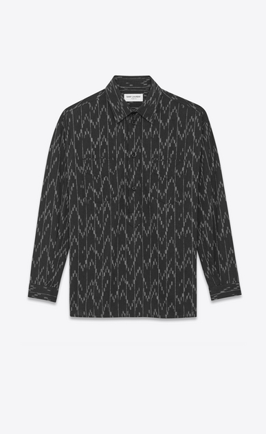 SAINT LAURENT Denim shirts D Black cotton tunic printed with a pixel jacquard a_V4