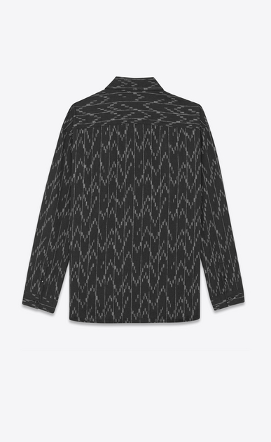 SAINT LAURENT Denim shirts D Black cotton tunic printed with a pixel jacquard b_V4
