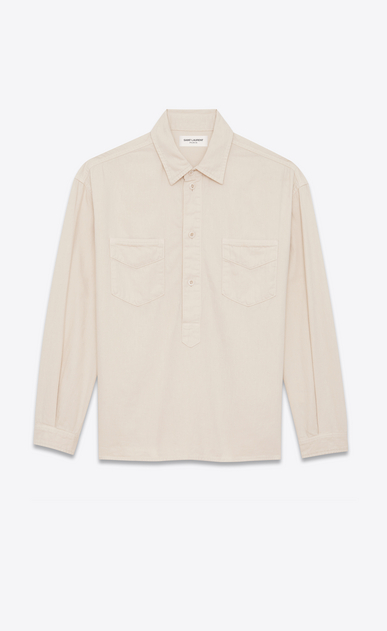 SAINT LAURENT Denim shirts D Tunic in chalk-colored denim a_V4