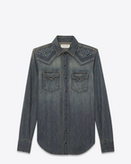 SAINT LAURENT Western Shirts D Mosaic-embroidered Western-style shirt in vintage blue-gray denim f
