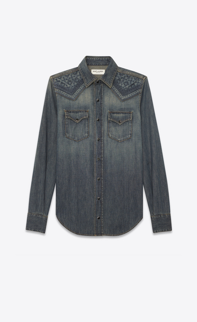 SAINT LAURENT Western Shirts Woman Mosaic-embroidered Western-style shirt in vintage blue-gray denim a_V4