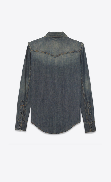 SAINT LAURENT Western Shirts D Mosaic-embroidered Western-style shirt in vintage blue-gray denim b_V4