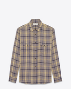 SAINT LAURENT Denim shirts D Oversized checked shirt in gray and yellow flannel f