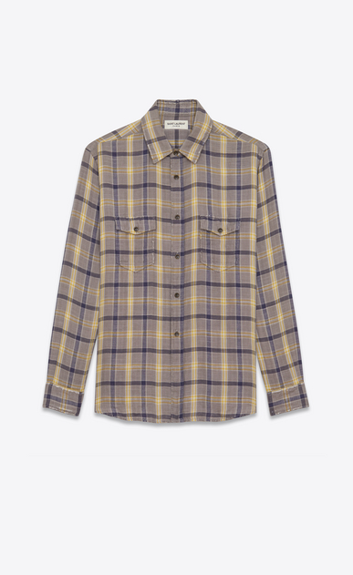 SAINT LAURENT Denim shirts Woman Oversized checked shirt in gray and yellow flannel a_V4