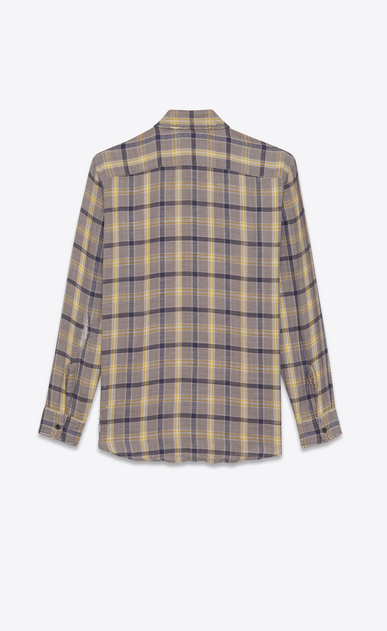 SAINT LAURENT Denim shirts Woman Oversized checked shirt in gray and yellow flannel b_V4
