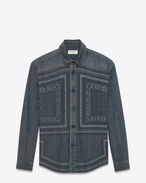 SAINT LAURENT Denim shirts D Mosaic-embroidered shirt in vintage blue-gray denim f