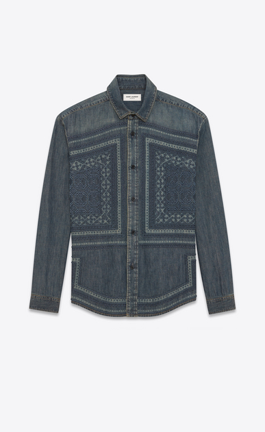 SAINT LAURENT Denim shirts D Mosaic-embroidered shirt in vintage blue-gray denim a_V4