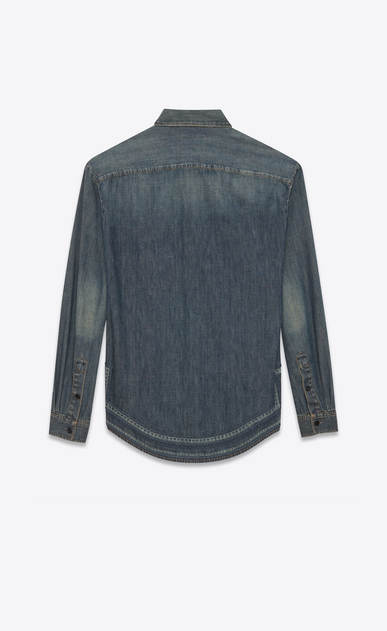 SAINT LAURENT Denim shirts Woman Mosaic-embroidered shirt in vintage blue-gray denim b_V4